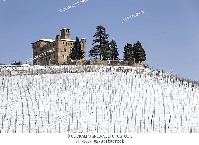 Langhe, Cuneo district, Piedmont, Italy. Langhe wine region winter snow, Grinzane Cavour castle