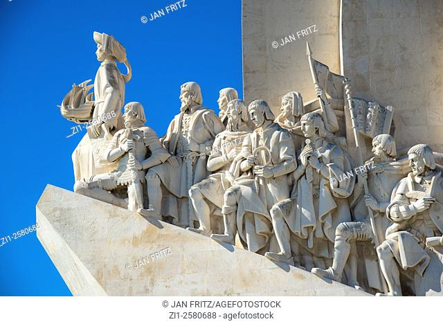detail with columbus and other figures at padrao dos descobrimentos monument in lisboa portugal