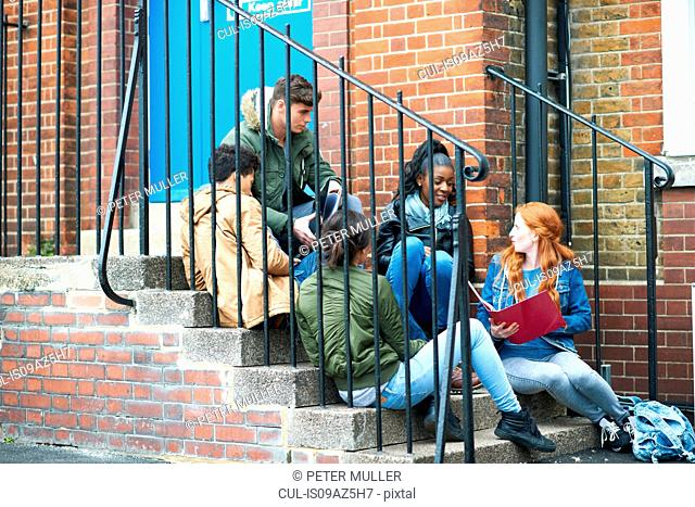 Young adult college students chatting and revising on campus stairs