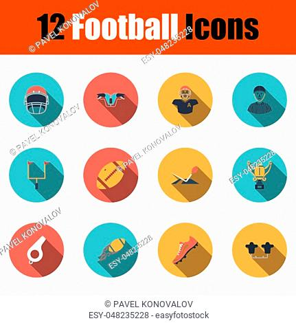 Football Icon Set. Flat Design With Long Shadow. Vector illustration