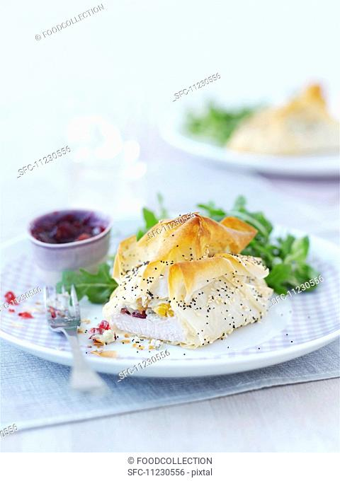 Turkey breast with Stilton, wrapped in filo pastry