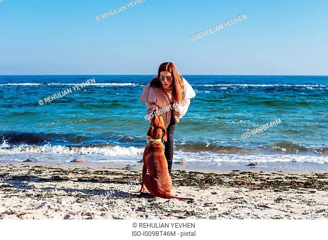Stylish mid adult woman on beach petting her dog, Odessa, Odeska Oblast, Ukraine