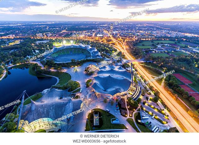 Germany, Munich, Olympic Park with stadium at twilight seen from above