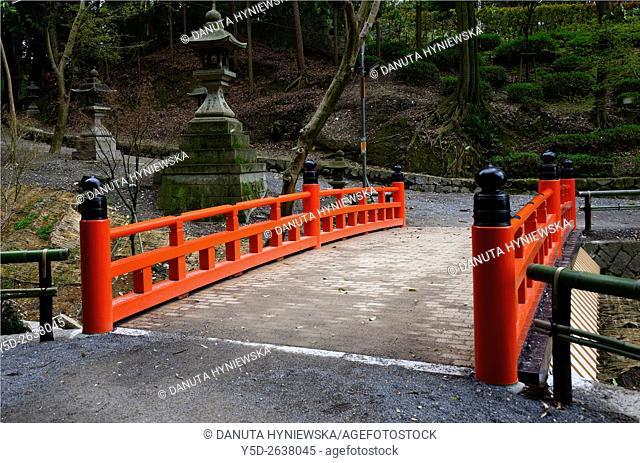 Granite lanterns in gardens around Fushimi Inari-taisha Shrine, head shrine of Inari located in Fushimi-ku, Kyoto, Kansai Region, Japan