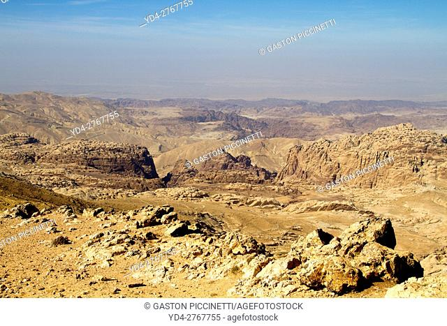 Panoramic view of the desert from the Queens road thats runs from Petra to Wadi Rum desert, Jordan
