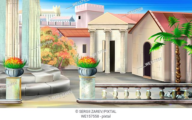 Antique courtyard in a summer sunny day. Digital painting background, Illustration in cartoon style character