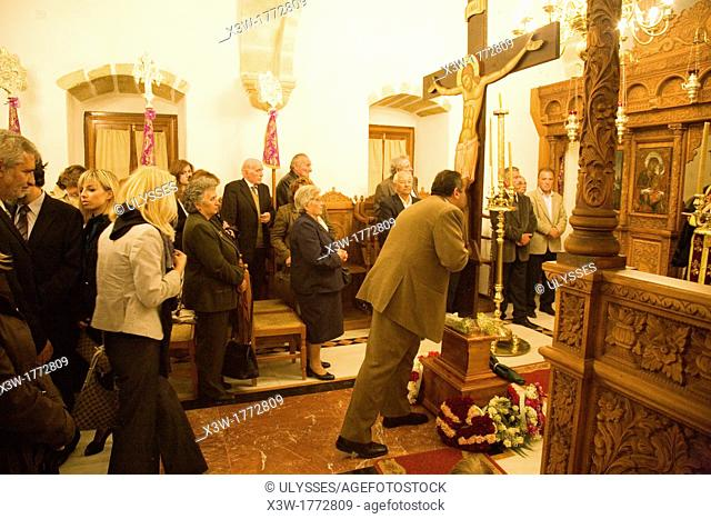 europe, greece, dodecanese, patmos island, skala, orthodox church, easter week, faith moments before the holy mass