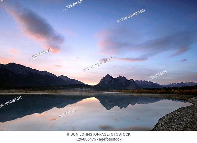 Predawn skies over Abraham Lake and the Ram Range