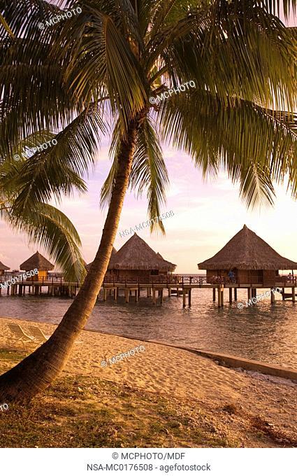 French Polynesia, Rangiroa. Sunset at the the Kia Ora Resort