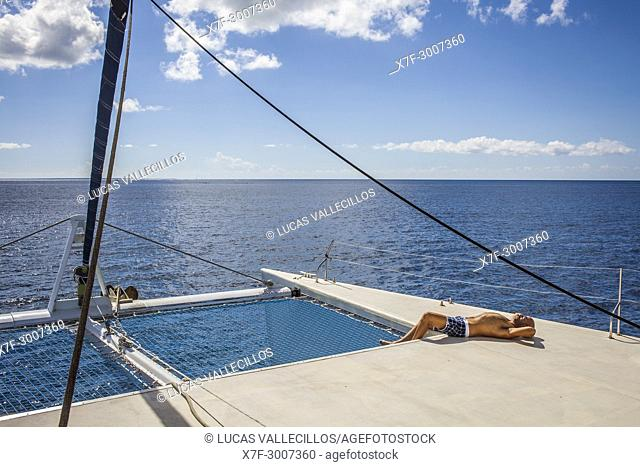 Tourist on a catamaran, journey in Saona island, Dominican Republic, West Indies,