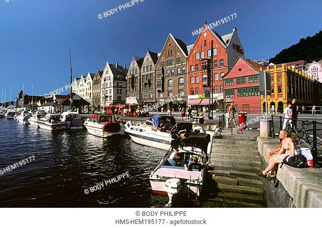 Norway, Hordaland County, Bergen, Bryggen wharf 15th century, re-built in the 18th century, listed as World Heritage by UNESCO