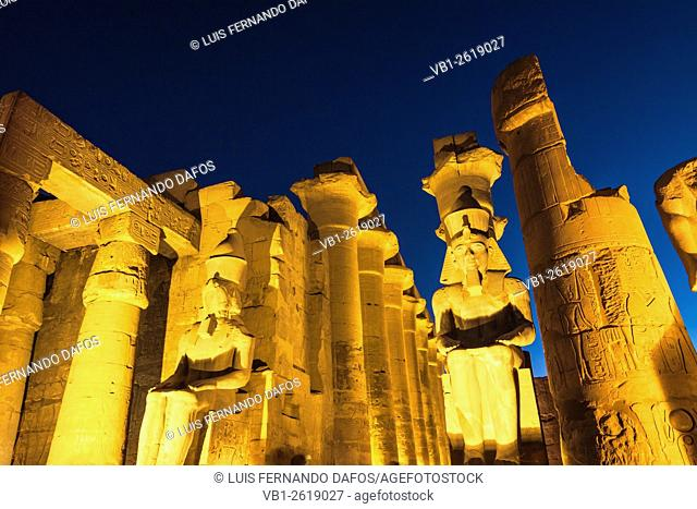 Colossal statues of Ramesses II at the entrance of Luxor Temple, Egypt