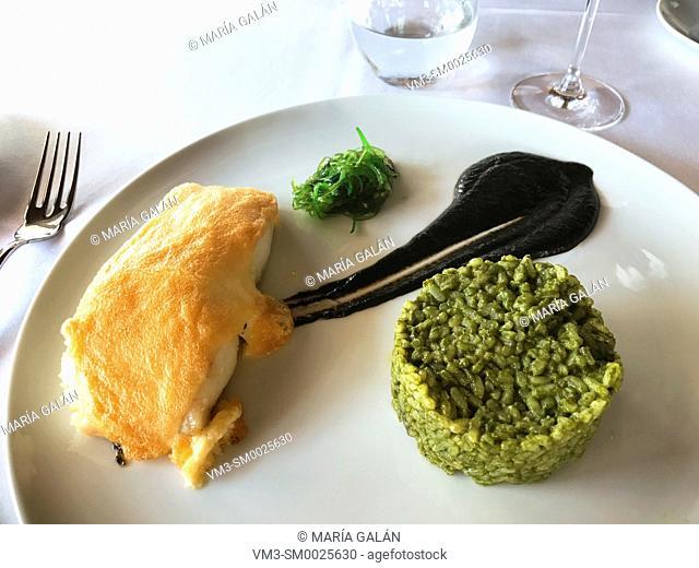Codfish with green rice