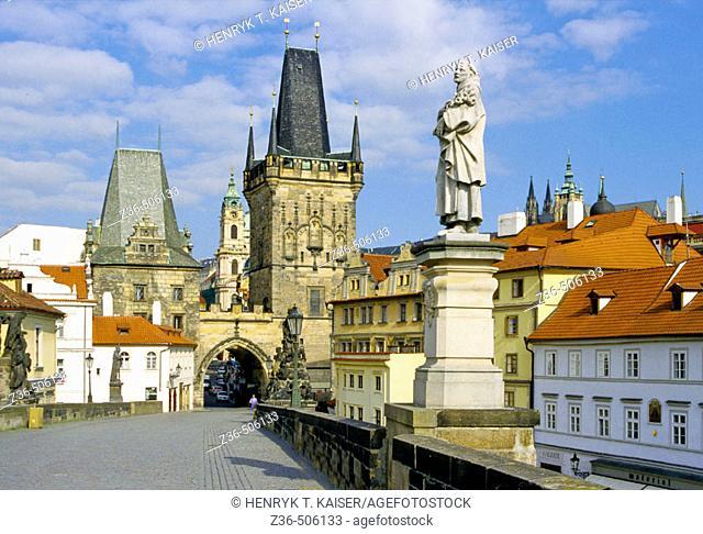 Lesser Town Bridge Tower on Charles Bridge in Prague, Czech Republic