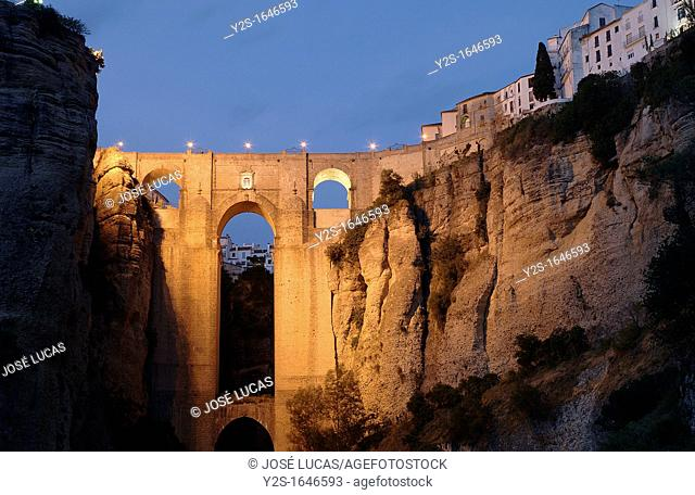 'Tajo' y Puente Nuevo, Gorge and New Bridge, Ronda, Malaga-province, Region of Andalusia, Spain, Europe