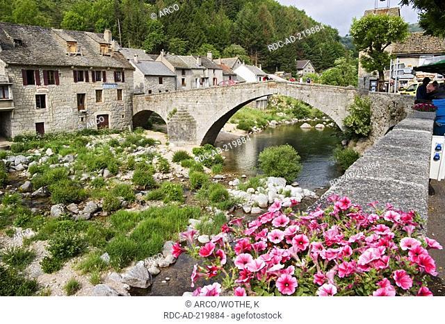 Bridge over river Tarn, Le Pont-de-Montvert, Lozere, Languedoc-Roussillon, Cevennes National Park, France, hiking with donkey in Cevennes