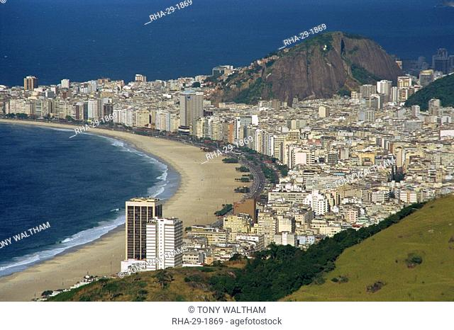 Overlooking Copacabana Beach from Sugarloaf Sugar Loaf Mountain, Rio de Janeiro, Brazil, South America