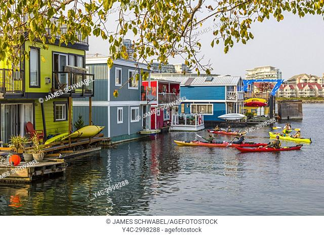 Fisherman's Wharf a colourful float home community in Victoria on Vancouver Island in British Columbia, Canada