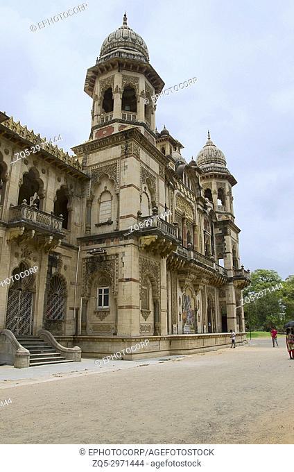 Partial view of The Lakshmi Vilas Palace, was built by Maharaja Sayajirao Gaekwad 3rd in 1890, Vadodara (Baroda), Gujarat, India