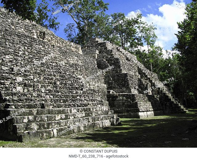 Old ruins of a building, Mayan ruins, Balamku, Campeche, Mexico