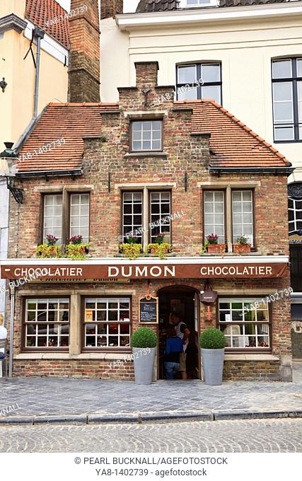 Bruges, East Flanders, Belgium Europe  Dumon chocolatier shop selling Belgian chocolates