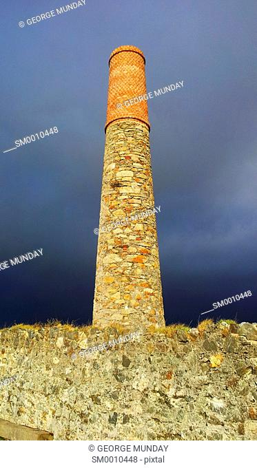 The Old Copper Mine Chimney in the Copper Coast Geopark, Bunmahon, County Waterford, Ireland
