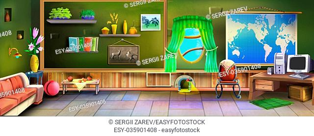 Digital painting of the room interior with stairs, lamps and many objects