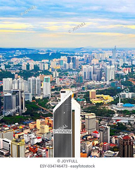 Skyline of Kuala Lumpur at beautiful sunset. Malaysia