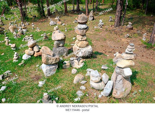 Stones of fulfillment of desires, stone garden  Arshan, Tunkinsky District, Republic of Buryatia, Siberia, Russian Federation