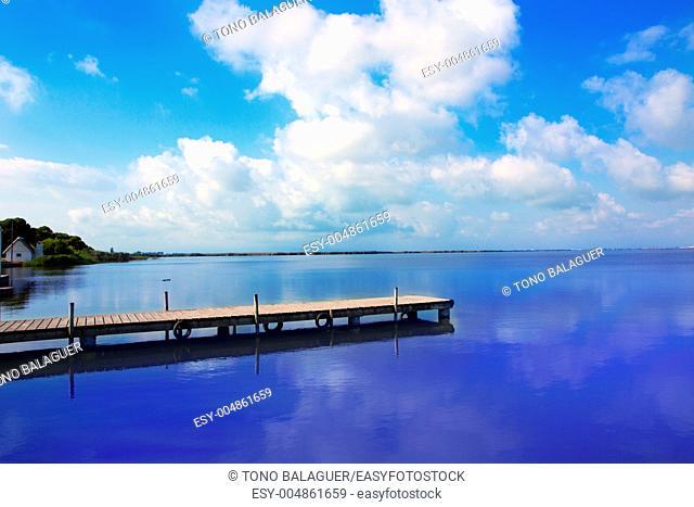 Albufera lake in Valencia El Saler under blue sky