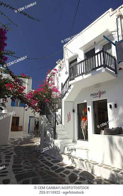 Whitewashed house with balconies in the town center, Mykonos, Cyclades Islands, Greek Islands, Greece, Europe