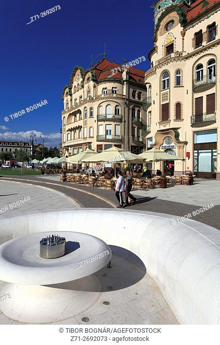 Romania, Crisana, Oradea, Piata Unirii, main square, Black Eagle Palace,