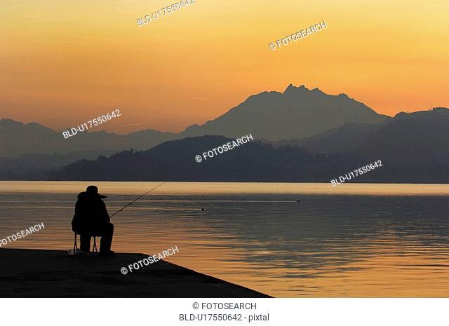 huwiler, calm, fish, Fischer, evening, lake, atmosphere