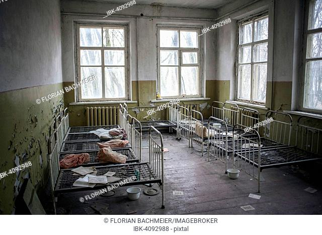 Dormitory, abandoned kindergarten of a village in the contaminated zone, near Chernobyl, Kopachi, Ukraine