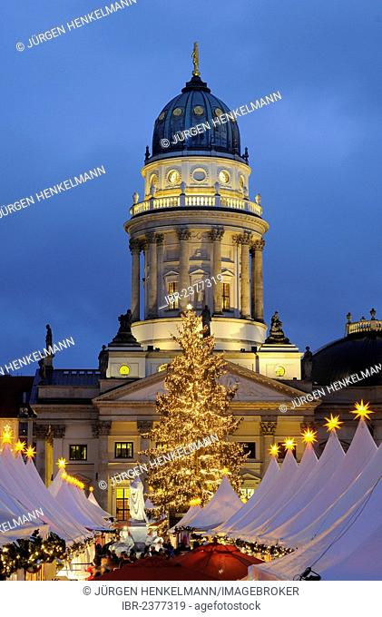 Winter Magic Christmas market at Gendarmenmarkt square, German Cathedral, Berlin-Mitte, Berlin, Germany, Europe
