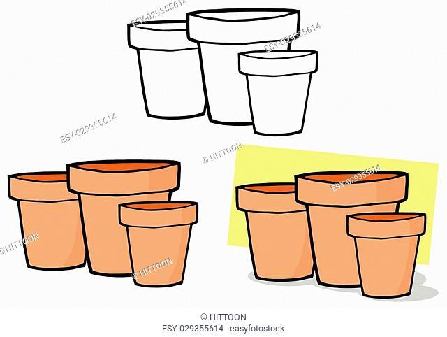 Gardening Tool-Three Terra Cotta Pots. Collection Set