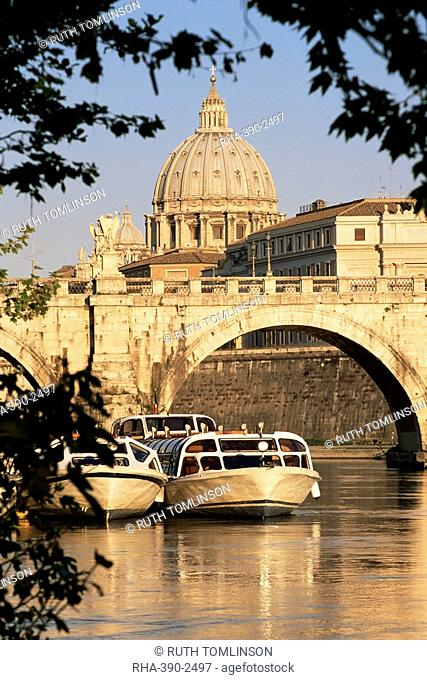 Pleasure boats on the River Tiber near the Ponte Sant'Angelo, with St. Peter's Basilica behind, Rome, Lazio, Italy, Europe