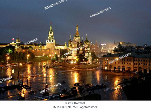 Red Square, St Basil's Cathedral and Kremlin, Moscow, Russia, Europe