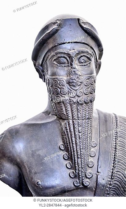 Statue of Puzur-Ishtar Shakkanakku (military governor or prince c. 2050 BC)) of Mari appointed by the Akkad Kings. According to the inscription below the right...