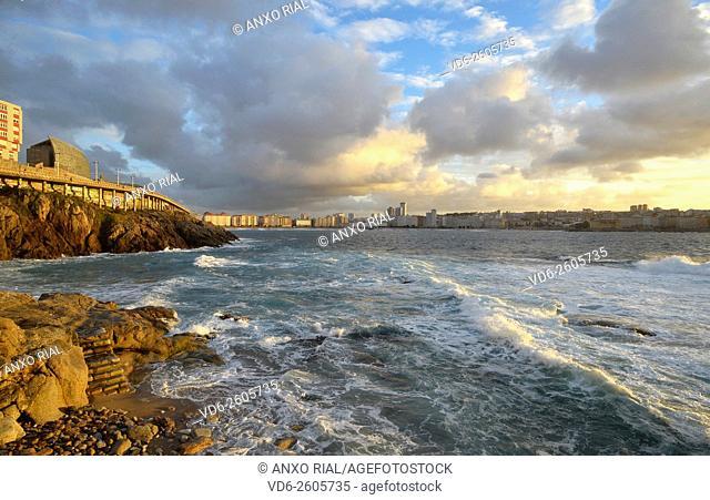 Spain. Galicia. A Coruña. Riazor's beach