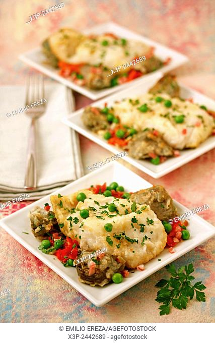 Cod with peas and artichokes
