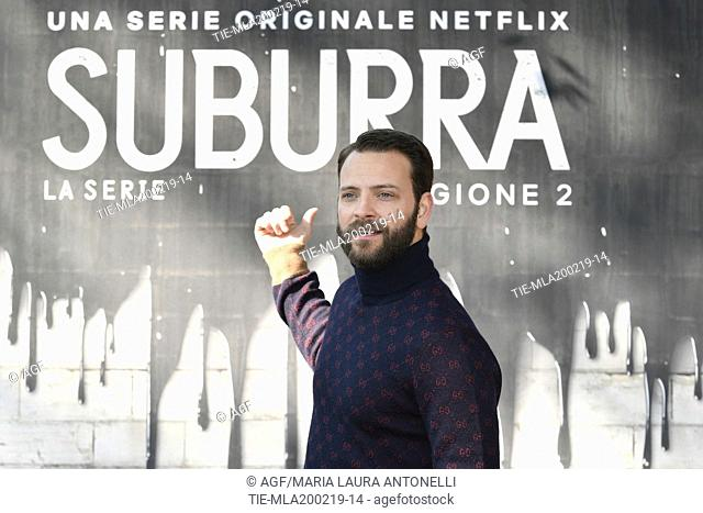 Alessandro Borghi during photocall of the second season of Italian fiction 'Suburra', Rome 20-02-2019