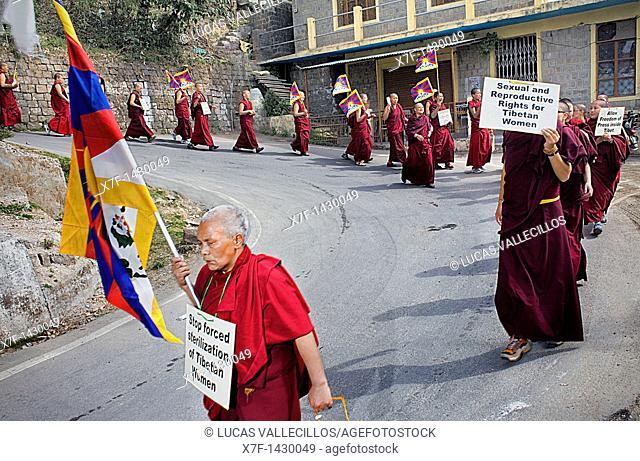 women's demonstration, for the freedom of Tibetan women,Jogibara Rd, Dharamsala, Himachal Pradesh state, India, Asia