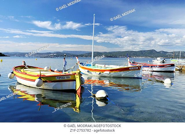 Small wooden boats in the south of France beside Toulon