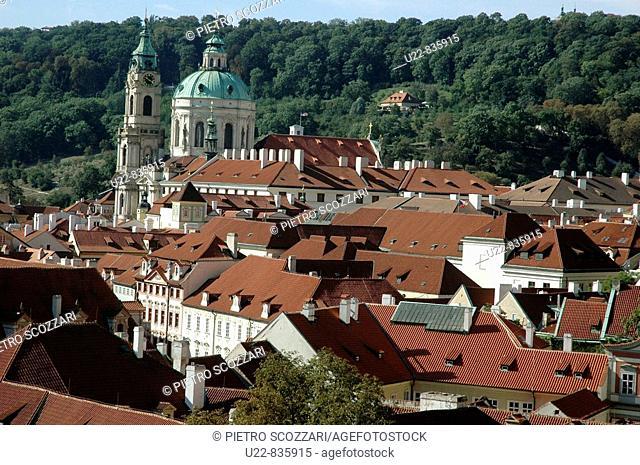 Prague Czech Republic, view on Mala Strana and the Petrin Hill