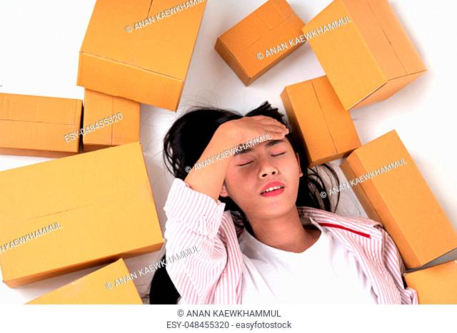 happy woman with many parcel box for delivery to customer or many box from online shopping