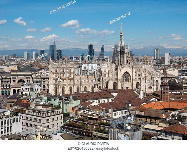 Aerial view of the skyline of the city of Milan, Italy
