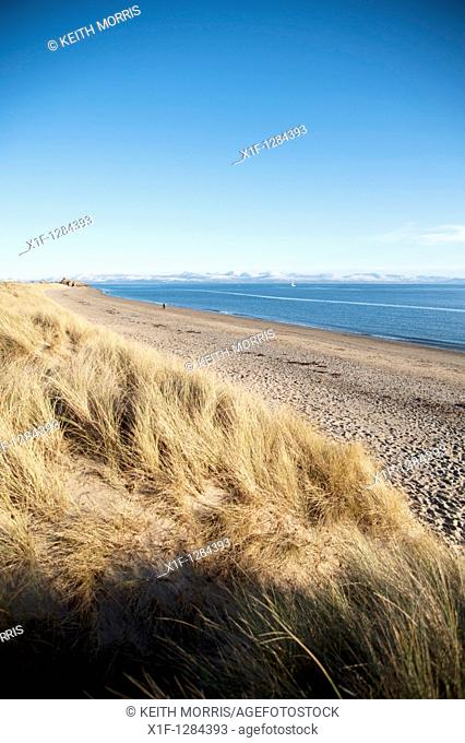 Pwllheli beach, winter afternoon, snowdonia national park, north wales UK