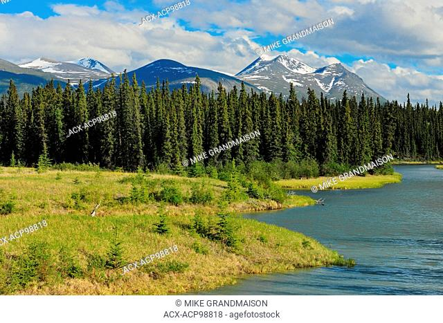 Takhini River and Valley with Coast Mountains in the background Alaska Highway Yukon Canada