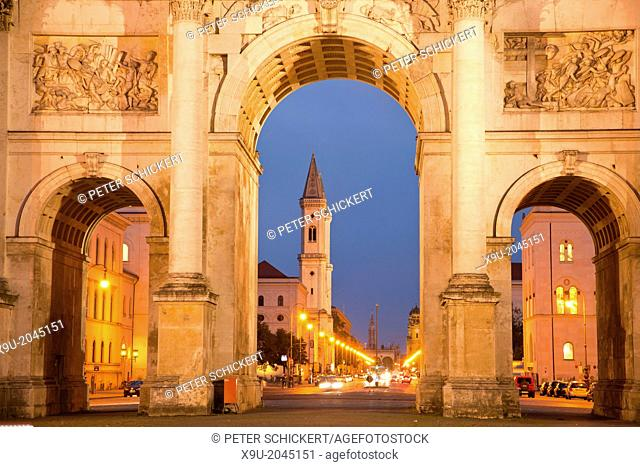 The Siegestor Victory Gate and St. Ludwig church in Munich, Bavaria, Germany
